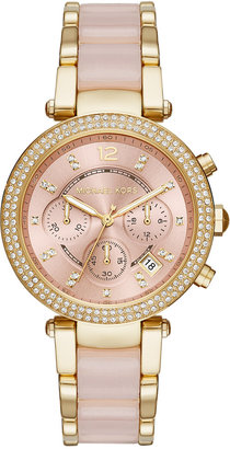 Michael Kors Women's Chronograph Parker Gold-Tone Stainless Steel and Blush Acetate Bracelet Watch 39mm MK6326 $295 thestylecure.com