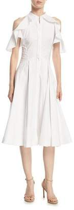 Zac Posen Ruffled-Frill Cold-Shoulder Poplin Shirtdress
