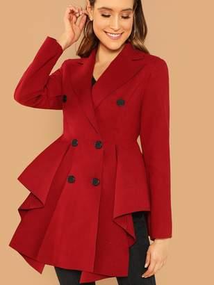 2fe6152d1b Shein Double Breasted Asymmetric Flared Skirt Coat