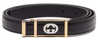 Gucci Gg Plaque Leather Belt - Mens - Black