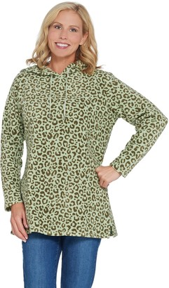 Denim & Co. Petite Animal Print Fleece Tunic w/ Hood and Pockets