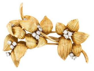 18K Diamond Flower Stick Pin
