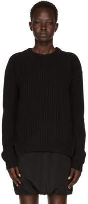 Rick Owens Black Round Neck Fisherman Sweater