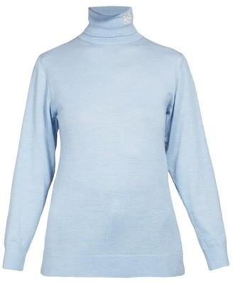 Loewe Logo Embroidered Roll Neck Cashmere Sweater - Womens - Light Blue