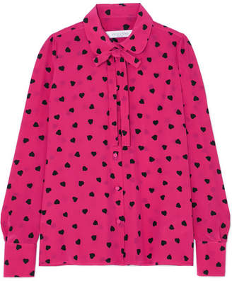 Valentino Pussy-bow Printed Silk Blouse - Bright pink