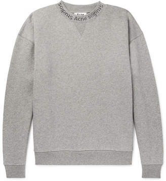 Acne Studios Flogho Logo-Print Mélange Fleece-Back Cotton-Jersey Sweatshirt