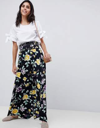 Asos Design Maxi Skirt With Shirred Waist In Floral Print