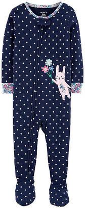 Carter's Girls Knit Long Sleeve Round Neck One Piece Pajama