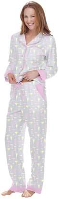Munki Munki Women's Fancy Drinks Flannel Classic Pajama Set