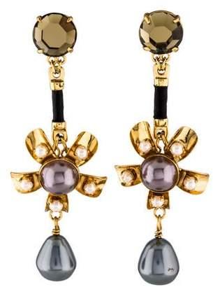 2d4d80d8a Tory Burch Faux Pearl & Crystal Flower Drop Earrings