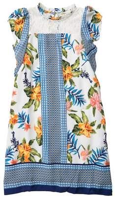 Couture Monteau Tie Side Floral & Lace Dress (Big Girls)