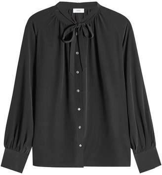 Closed Silk Blouse with Bow