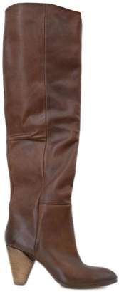 Strategia Brown Stretch Leather Over-the-knee Boots.