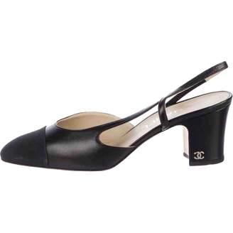 Chanel Slingback Black Leather Heels