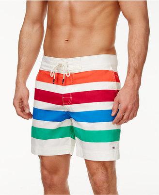 Tommy Hilfiger Men's Fremont Striped Board Shorts $59.50 thestylecure.com