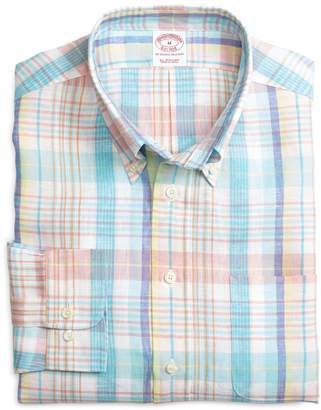 Brooks Brothers Regular Fit Aqua with Pink Plaid Linen Sport Shirt