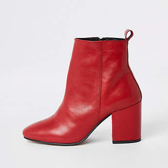 River Island Red leather block heel ankle boots
