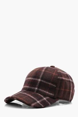 boohoo Burgundy Wool Check Cap