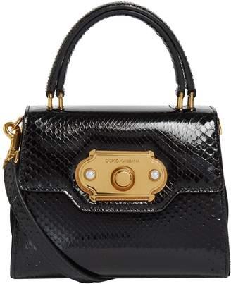 Dolce & Gabbana Mini Python Welcome Top Handle Bag