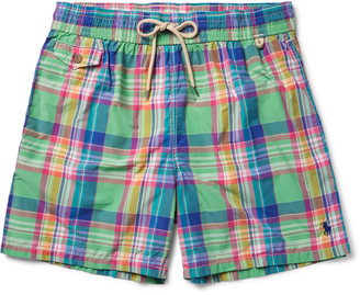 Traveler Mid-Length Plaid Cotton-Blend Swim Shorts $80 thestylecure.com