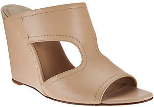 Halston H by Open-Toe Cut-Out Leather Mules -Holly