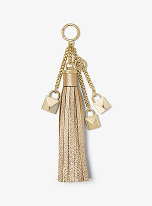 Michael Kors Mercer Leather Tassel And Lock Key Chain