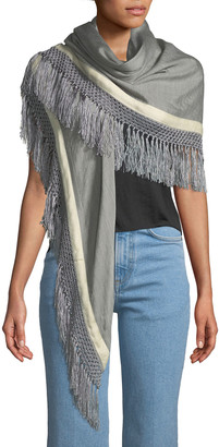 Rag & Bone Sport Stripe Silk-Wool Poncho w/ Stripes & Fringe