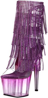 Pleaser USA Women's ADO1017RSFT/C-PP/M Boot, Clear Purple