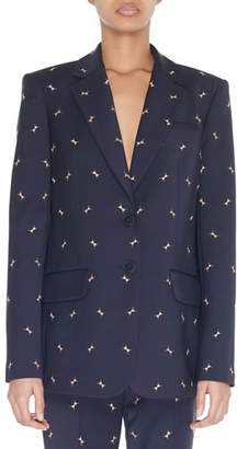 Tibi Two-Button Blazer with Ant Embroidery