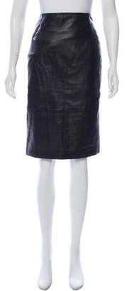 Les Copains Leather Knee-Length Skirt