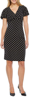 Liz Claiborne Short Sleeve Dots Sheath Dress