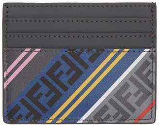 Fendi Grey Striped Forever Card Holder