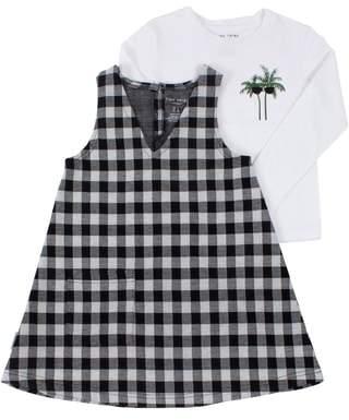 TINY TRIBE Palm Long Sleeve Tee & Check Tunic Set