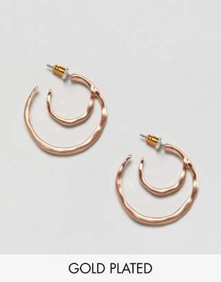 Pilgrim rose gold plated mini double hoop earrings