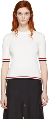 Thom Browne White Open Stitch Pullover $990 thestylecure.com