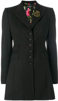Dolce & Gabbana long-line blazer with contrast stitching