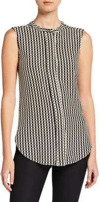 Oscar de la Renta Sleeveless Graphic-Print Blouse