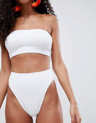 Asos Design DESIGN Mix and Match Crinkle High Leg High Waist Bikini Bottom