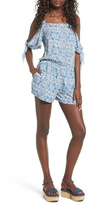 Women's Mimi Chica Tie Sleeve Cold Shoulder Romper $45 thestylecure.com
