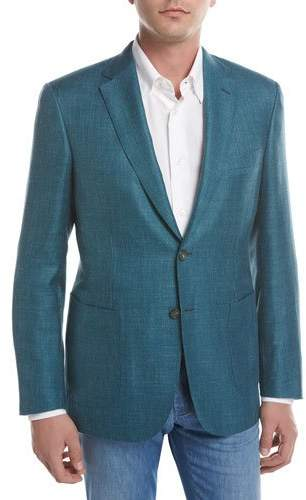 BrioniBrioni Solid Wool-Silk-Linen Two-Button Blazer, Teal Green/Blue