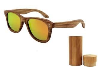 Kedera Wood Sunglasses with Polarized Lens - Natural Striped Wood Frame Sunglasses with Wooden Box (, 60)