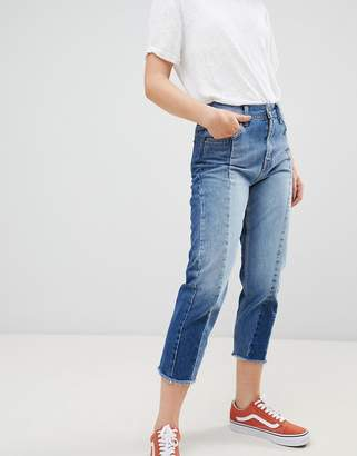 Pepe Jeans Patchy Paneled Cropped Boyfriend Jeans