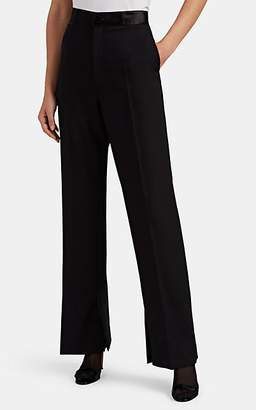 Helmut Lang Women's Satin-Trimmed Wool-Mohair Wide-Leg Tuxedo Trousers - Black