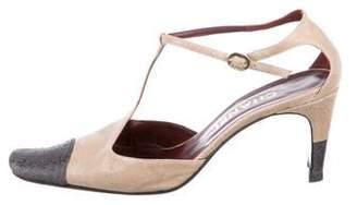 Chanel Suede Ankle Strap Pumps