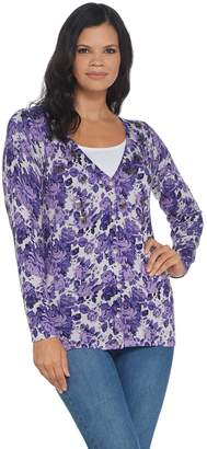 Factory Quacker Floral Printed Button Front V-Neck Knit Cardigan