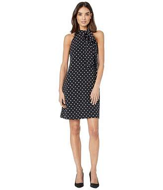 Vince Camuto Printed Crepe Bow Neck Shift Dress