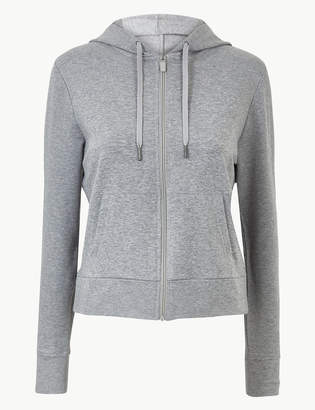 Marks and Spencer Cotton Rich Long Sleeve Hooded Sweatshirt