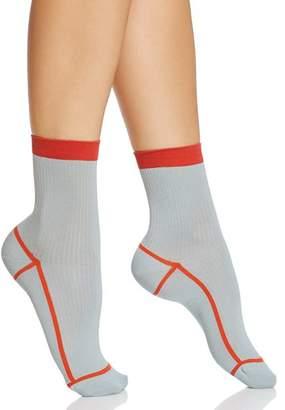 Happy Socks Hysteria Lily Ribbed Ankle Socks