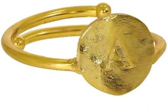 Ottoman Hands Gold Initial Ring