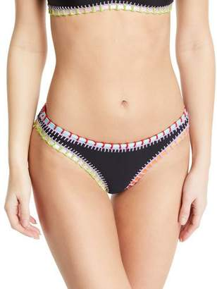 Solange Platinum Inspired by Ferrarini Crochet-Trim Scoop Swim Bikini Bottom, Black